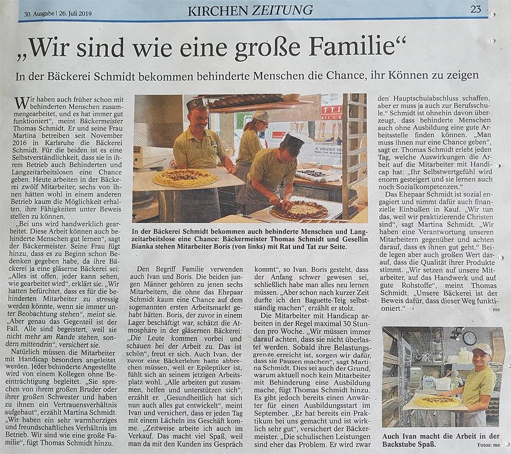 Bericht über Bäckerei Schmidt Karlsruhe in der Kirchenzeitung